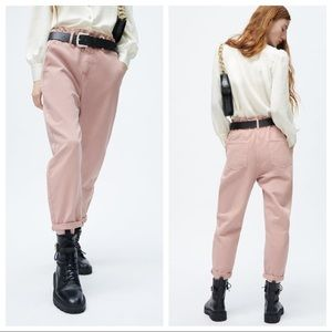 ZARA Z1975 BAGGY PAPERBAG JEANS PALE PINK SIZE 36 US 4 NWT